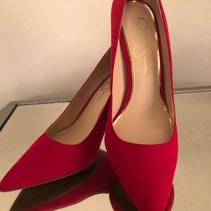 """Jessica Simpson Red Suede 3"""" Pumps"""